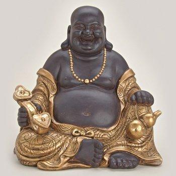 Happy Buddha aus Polystein braun und gold ca. 30 cm groß