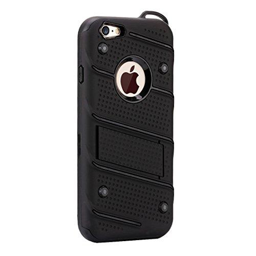 BING Für iPhone 6 Plus / 6s Plus, Charm Knight Abnehmbare PC + TPU Kombination Schutzhülle mit Halter BING ( Color : Rose gold ) Black