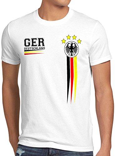 style3 Deutschland Herren T-Shirt Germany Fußball Weltmeisterschaft Trikot WM 2018, Größe:L, Farbe:Weiß