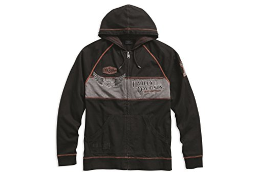 Harley-Davidson Sweatjacke Iron Block Hoodie, schw/grau/orange, M - Davidson Hoodie Harley