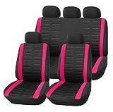 Upgrade4cars Coprisedile Universale Auto Rosa Nero Set Copri-sedili Donna Universali per Anteriori e Posteriori Accessori Auto Interno