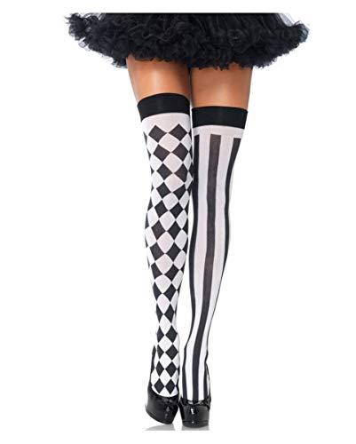 Kostüm Sexy Clown Harlekin - Horror-Shop Schwarz-Weiße Harlekin Overknees als Kostüm Accessoires