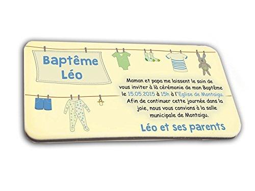 CARTE D'INVITATION en chocolat thème FIL A LINGE GARCON personnalisée avec votre texte - pour baptême mariage communion - invitation en chocolat design et moderne bleu et ivoire