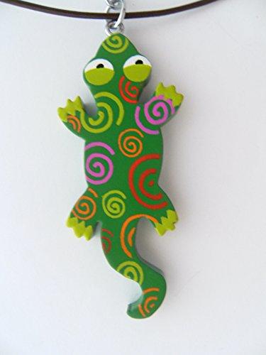 Kette Eidechse bunt, Holzanhänger Ketten Modeschmuck Lederband Tiere Tier Echse Gecko Salamander