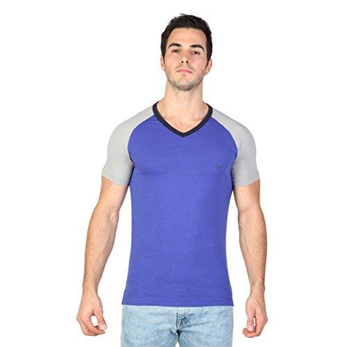 Armani Herren T-Shirt mit V-Ausschnitt, kurzärmlig Blau