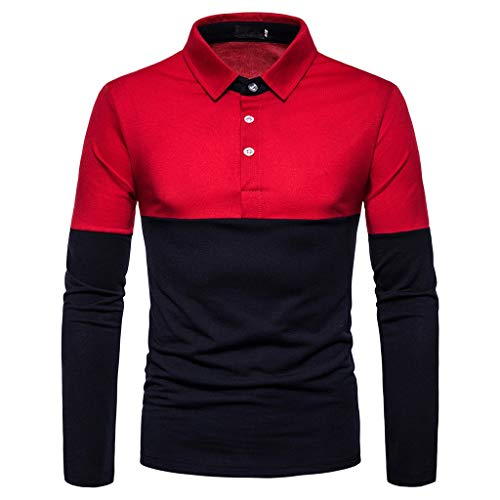 Dwevkeful T-Shirt Herren Revers Panel Kontrastfarbe Langarm Polo Top Hemden Shirt Hemd Blouse Freizeithemd MäNner Outdoor Reise Herbst Und Winter