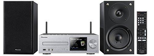 Pioneer X-HM72-SK Micro-HiFi System (2x 50 Watt, WiFi, Bluetooth, DLNA, Spotify Connect, App Control, Hochglanz-Lautsprecher) silber/schwarz