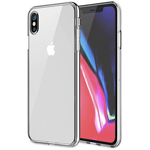 KHOMO Funda iPhone XS MAX 6.5' Super Retina OLED 2018 - Carcasa Híbrida con Bordes de Silicona Antichoque y Cristal Trasero Anti Rayones Solo para Apple iPhone XS MAX - Transparente