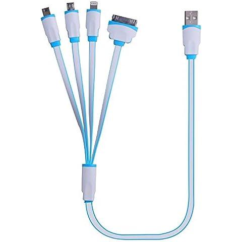 Cable de carga USB, 4 en 1 cable del cargador del adaptador de conector universal de múltiples funciones USB con 8 pines Iluminación / Pin 30 / Micro USB 2.0 / Micro USB 3.0 Puertos para todos los iPhone, Todos los iPad, iPod touch 6 de 5ª generación, Galaxy S7 Edge, S6, S5 , S4, Nota 4 de 5 y más (19