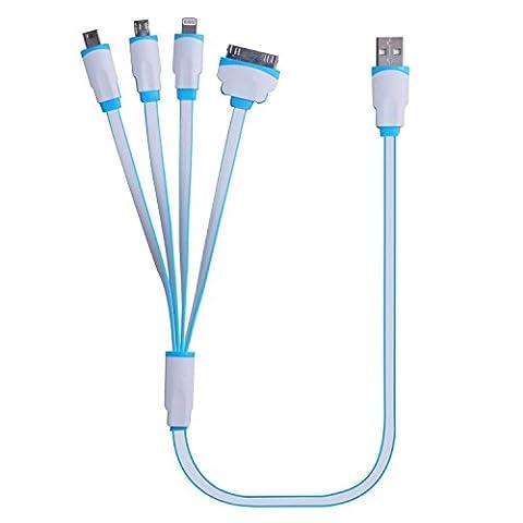 Câble USB, 4 en 1 connecteur câble adaptateur chargeur multifonction universel USB avec 8 broches Eclairage / 30 Pin / Micro USB 2.0 / Micro ports USB 3.0 pour tous iPhone, Tout iPad, iPod touch 6e 5e génération, Galaxy S7 Edge, S6, S5 , S4, note 4 5 et plus (19