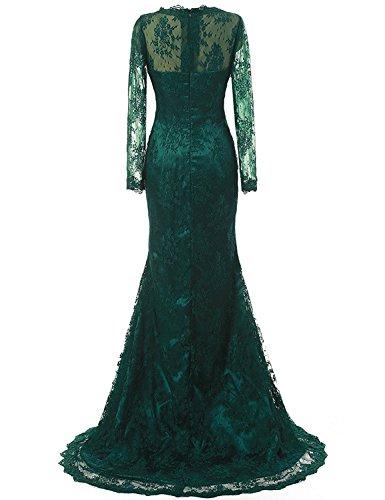 JAEDEN Donne Manica lunga Pizzo Vestito da sera lungo Madre di abito sposa Abito formale Verde