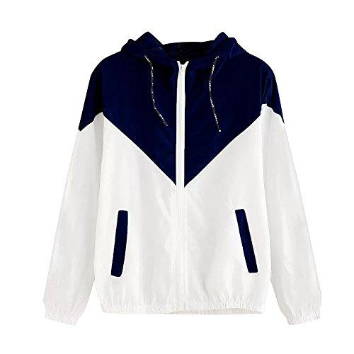 Damen Hoodies,KIMODO 2019 Frauen Langarm Patchwork Dünne Skin Suits Mit Kapuze Reißverschluss Taschen Sport Mantel (Marine, S)