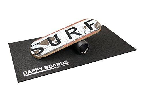 "DAFFY BOARDS improve your skills. DaffyBoards Balance Trainer Set \""Surf\"": Balance Board 75cm x 29,5cm aus Birkenholz, stabile 125mm Kunststoffrolle, Bodenschutzmatte"