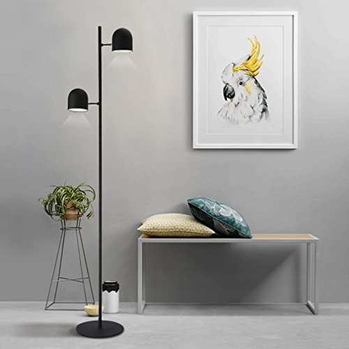 Tonffi Doppelkopf dimmbar Stehlampe LED Standleucht Doppellampen 12W 320LM 5000k Touch-Schalter für Wohnzimmerlampe und Studierzimmerlampe schwarz