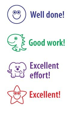Set of 4 praise marking stamps: 'Well done!', 'Good work!',