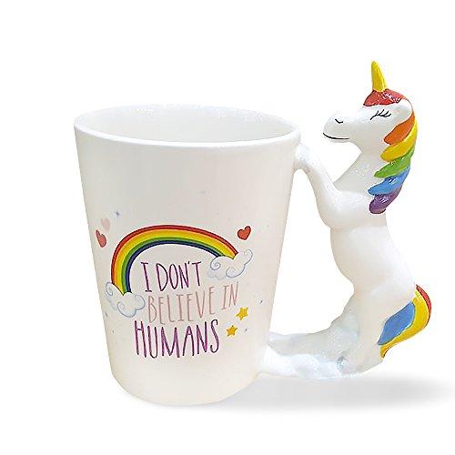 Runfon Tasse Licorne avec poignée Bouteille à café en céramique 3D Unicorn Mug Tasse Licorne Céramique Multicolore pour Le Bureau à Domicile Cadeaux Uniques