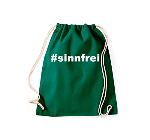 Turnbeutel #SINNFREI Hashtag Gymsack Kultsack Dunkelgrün