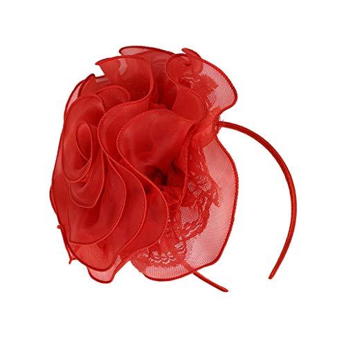 F Fityle Frauen Mädchen Fascinators Haarreif Stirnband Hut Feder Kopfschmuck Kostüm Headwear Cocktail Hochzeit Tea Party - Rot