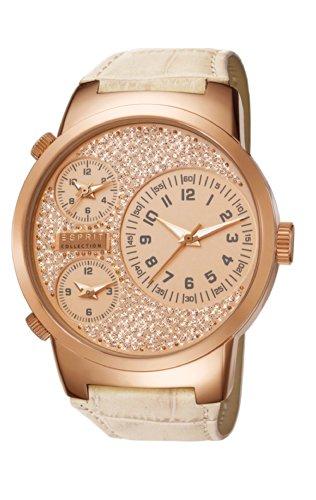 Esprit Polydora Women's Armbanduhr Analog Quarz Leder Beige, EL190482F04