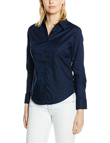 Fruite of the Loom Damen Lady Fit Langarm Oxford Bluse, vers.Farben S,Navy Blue (Oxford Langarm Damen)