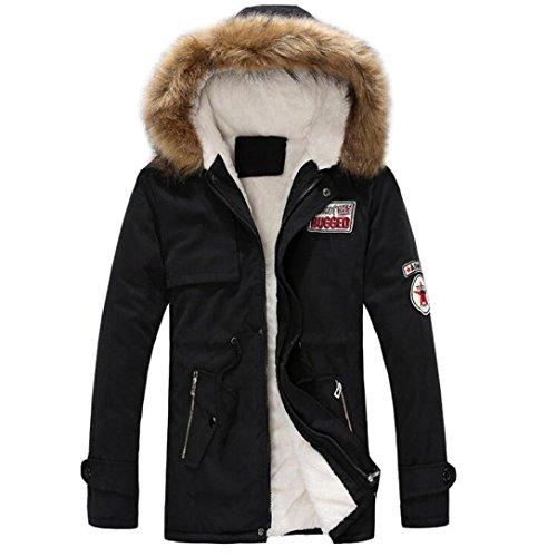 Abrigo Parka para Hombre, Amlaiworld Abrigo de hombre con capucha Hombres otoño invierno cremallera chaqueta larga (L, Negro)