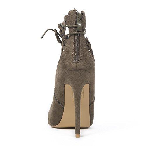 Ideal Shoes Sandales Effet Daim et Ajourées avec Lacets Entrecroisés Jalana Taupe