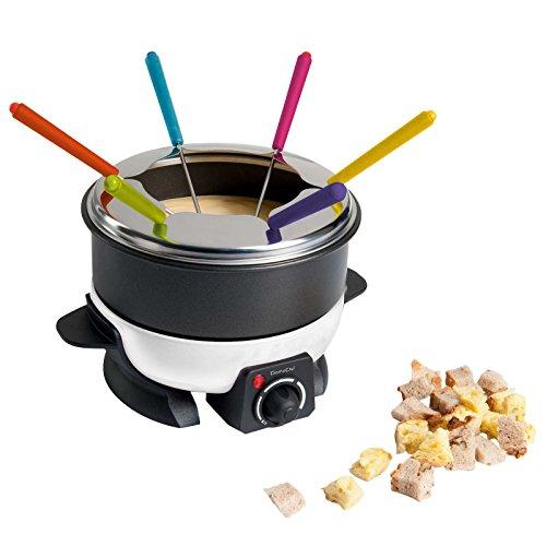 Service à fondue pour 6personnes avec thermostat (1,6L Pot à Fondue Fondue au fromage, revêtement de fondue, protection anti-éclaboussures, anti-adhésif, Chocolat)