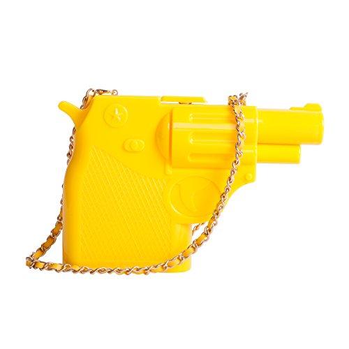 Zarapack Ladies Hard Case Gun Acrilico 3d Partito Frizione Crossbody Borsa Tracolla Gialla