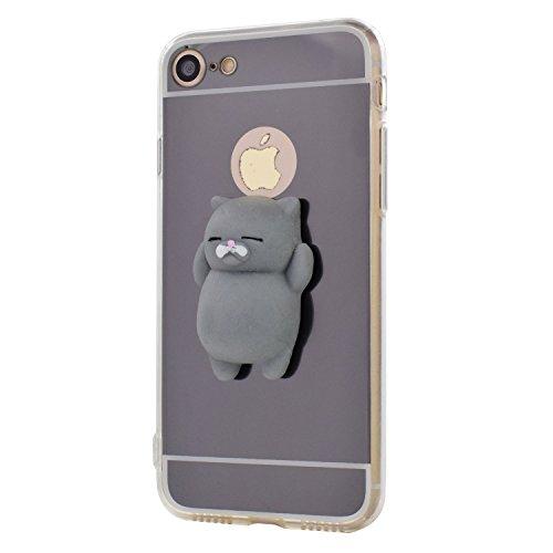 Custodia iphone se / 5s / 5, 3d squishy cute gatto phone caso morbido silicone tpu case dito pinch stress relieve specchio back cover per iphone se / 5s / 5 -- grigio gatto, grigio