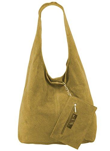 Damen Ledertasche Shopper Wildleder Handtasche Schultertasche Beuteltasche Metallic look Ocker