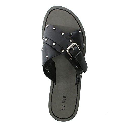 Daniel rasa Black Leather Studded Cross Strap Sliders Black Leather