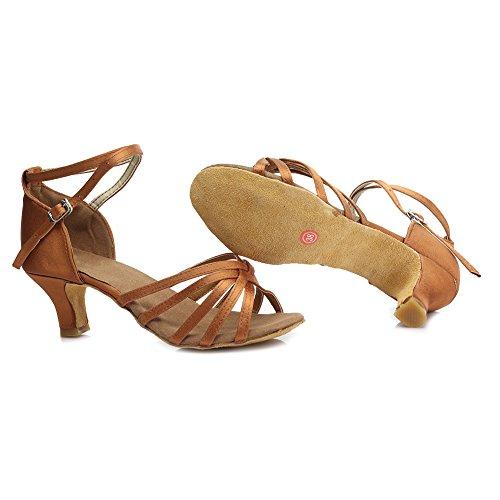 Swdzm Ladies Flared Dance Shoes / Standard Scarpe Da Ballo Latino Satin Sala Da Ballo Modelld213-7 5cm Marrone