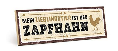 TypeStoff Holzschild mit Spruch - Zapfhahn - im Vintage-Look mit Zitat als Geschenk und Dekoration zum Thema Bier, Party und Hahn (9,5 x 28,2 cm)