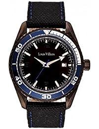 Reloj hombre Louis Villiers reloj 43 mm acero negro y brazalete negro de piel lv1045