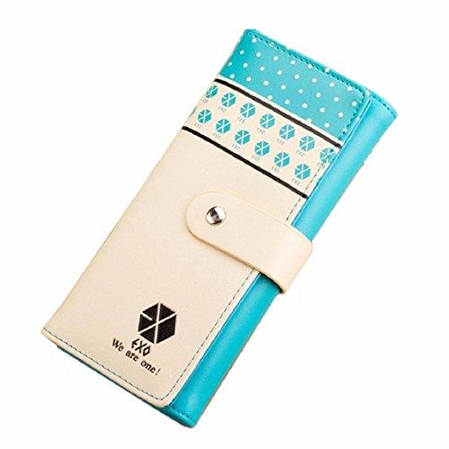 Vovotrade Clip dei soldi della borsa Button raccoglitore della frizione della borsa del supporto di carta (rosa) blu