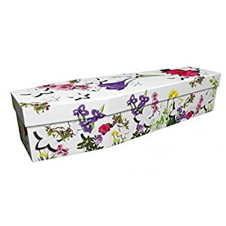 """Quality Cardboard Picture Coffin / Casket - Suitable for Burial or Cremation - FLORAL GALORE - (Internal size 6' 1"""" x 22"""") 7"""