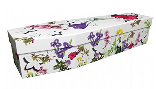 """Quality Cardboard Picture Coffin / Casket - Suitable for Burial or Cremation - FLORAL GALORE - (Internal size 6' 1"""" x 22"""") 1"""