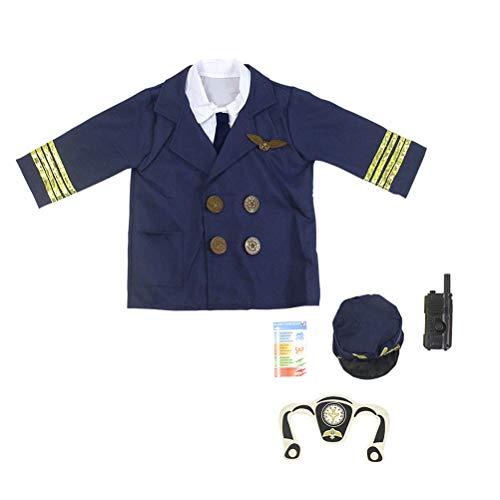 TENDYCOCO Kinder Pilot Kostüm Set Pilot Rollenspiel Uniform für Fancy Party Stage Performance (freie Größe) (Pilot Rollenspiel Kostüm Set)