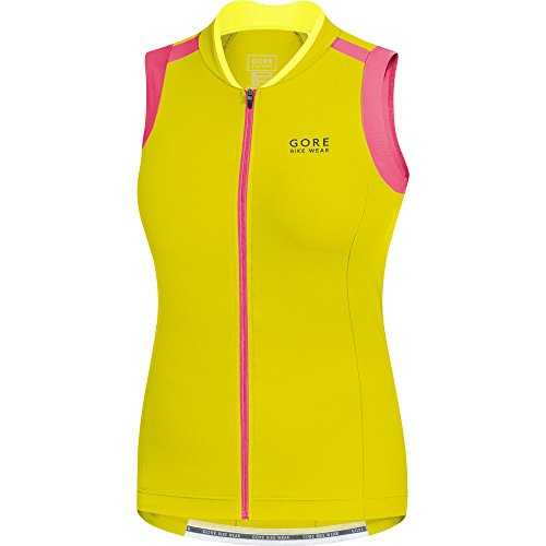 GORE WEAR Damen Trikot Ärmelos Power 3.0 Sulphur Yellow/Giro Pink, 40 -