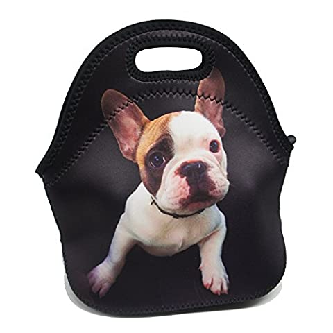 Artone French Bulldog Insulated Gourmet Lunch Bag Waterproof Neoprene Lunchbox Container Case Black