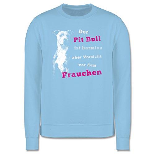 Hunde - Der Pit Bull ist harmlos aber Vorsicht vor dem Frauchen - Herren Premium Pullover Hellblau