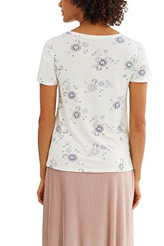 edc by ESPRIT Damen T-Shirt Mehrfarbig (Off White 110)
