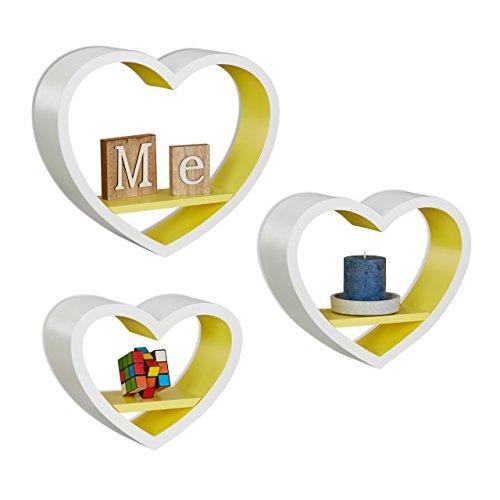 Relaxdays 10021817_360 set 3 mensole da parete a forma di cuore, romantiche, capacità di carico 6 kg, pensili, bianco-giallo