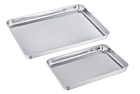 TeamFar Baking Tray Sheet Set of 2, Stainless Steel Tray Baking Pan Professional, Non Toxic & Healthy, Mirror Finish & Rust Free, Easy Clean & Dishwasher