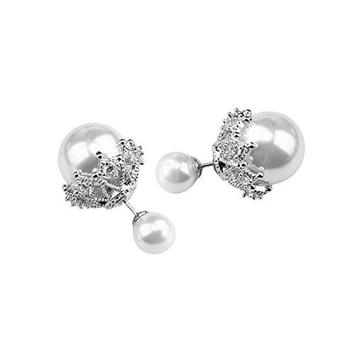 Merssavo Femme Boucles d'oreilles Perles en double face en Blanc Sterling 925 Rouge pour les femmes et les filles