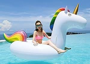 DeceStar aufblasbarer Einhorn Pool Floß mit speziellen schnell Ventilen, Pool Spielzeug
