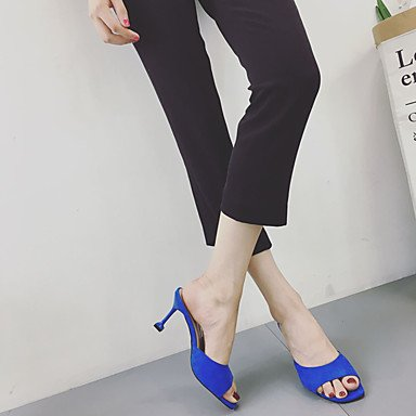 LvYuan Da donna Sandali Comoda Gomma Estate Footing Comoda Basso Nero Beige Blu Meno di 2,5 cm Blue