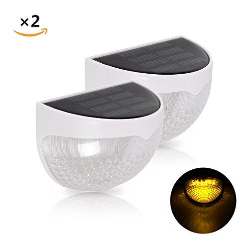 2er ProGreen LED Solar Außenleuchten mit Dämmerungssensor, 6 x 0.06w, 1.2v, Warmweiß, 3000k, ABS+PC, IP55 Wasserdicht, Automatisch On / Off, Outdoor Leuchtmittel, LED Nachtlicht, CE & RoHS (warmweiß 3000k)
