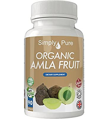 Organic Amla 90x Capsules, 100% Natural Soil Association Certified, NEW HIGHER Strength NOW 700mg, Antioxidant, Nutritional Health, Energy Levels, Gluten Free, Vegan, Exclusive to Amazon, Simply Pure, Moneyback Guarantee.