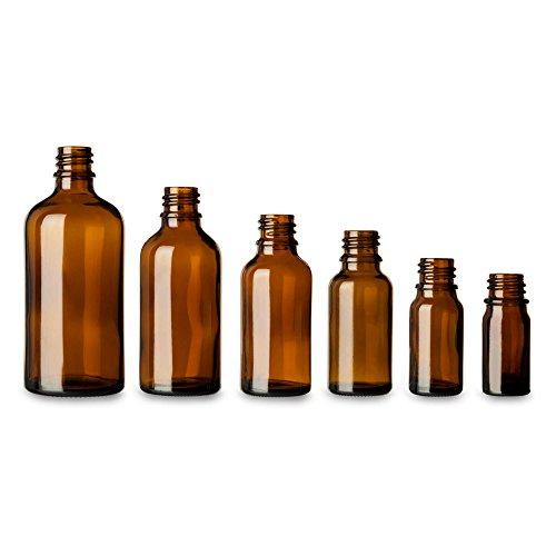 Tuuters 10x Braunglasflasche mit Schraubdeckel in schwarz oder weiß | Hochwertig ✓ UV-Schutz ✓ (100ml, Schwarz)